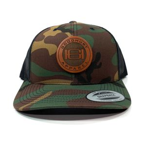 Flexfit Retro Yupoong Camo Trucker Hat & Leather Patch Bundle - Laser Engraved - Your Logo Thumbnail