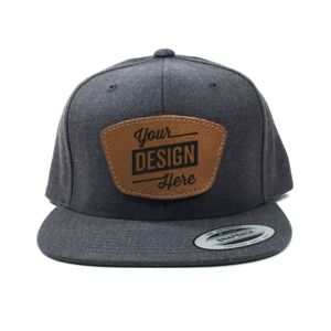 Yupoong Classic Snapback & Laser Engraved Leather Patch Bundle - Your Logo Thumbnail